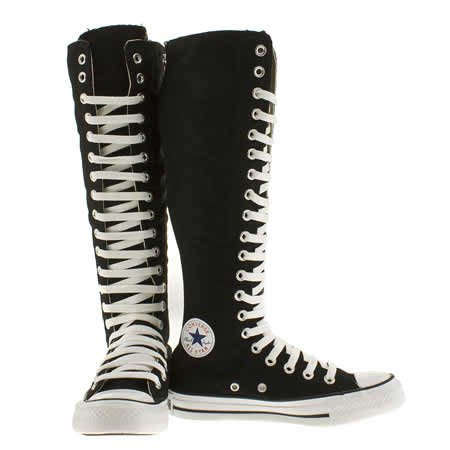 black knee high converse boots